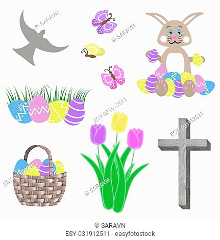 isolated easter collage with egg basket bunny tulip flowers green grass butterflies cross and dove