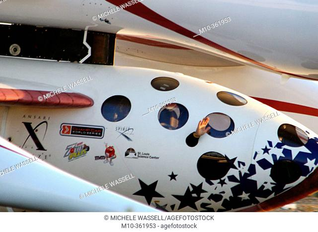 Ansari XPrize 1st Flight for SpaceShipOne: Mike Melvill waving out of SS1 whilte under White Knight taxing out to take off
