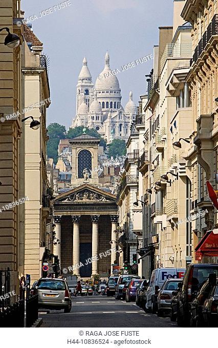 France, Europe, Paris, city, Montmartre District, Basilique du Sacre-Coeur, basilica, hill, church, street, cars