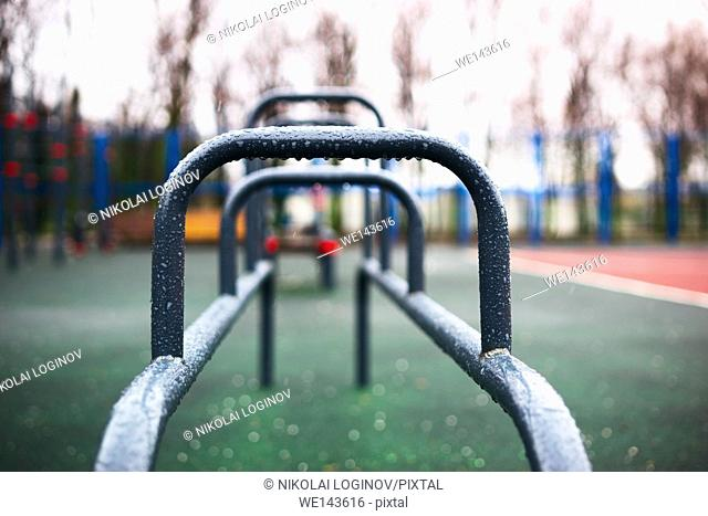 Horizontal sport bar with rain drops bokeh background