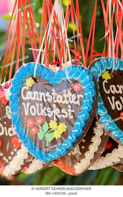 Gingerbread hearts, greetings from Cannstatter Wasen, Stuttgart Beer Festival, Stuttgart, Bad Cannstatt, Baden-Wuerttemberg, Germany, Europe