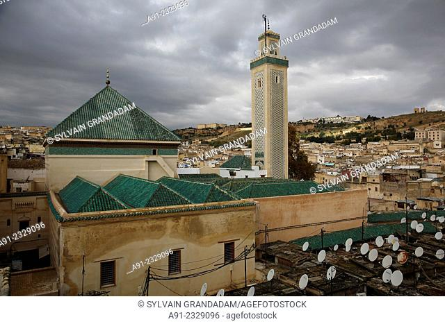 North Africa, Morocco, City of Fez (Fes), Medina, Moulay Idriss shrine and mosque