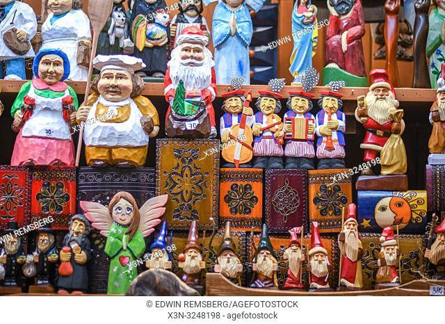 Collection of various wooden figurines for sale, Krak—w, Lesser Poland Voivodeship, Poland