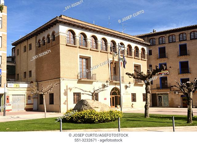 Town hall of Tamarite de Litera, Huesca province, Aragon, Spain,