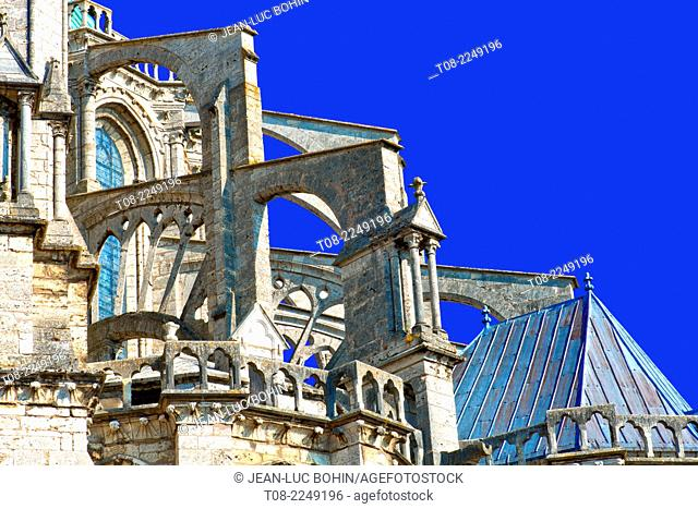 france, beauce,chartres, cathedral : south east roof