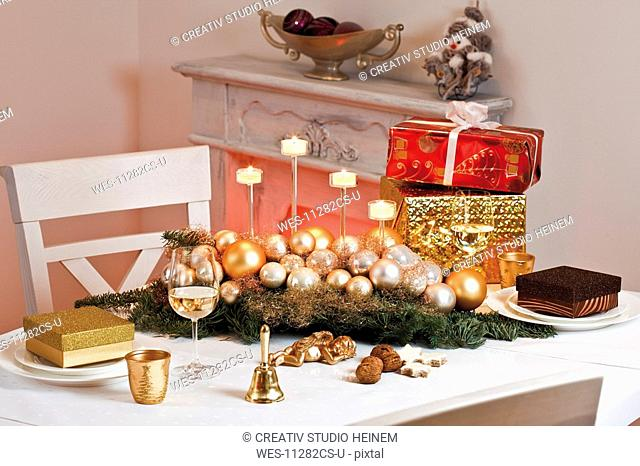 Christmas decoration on table