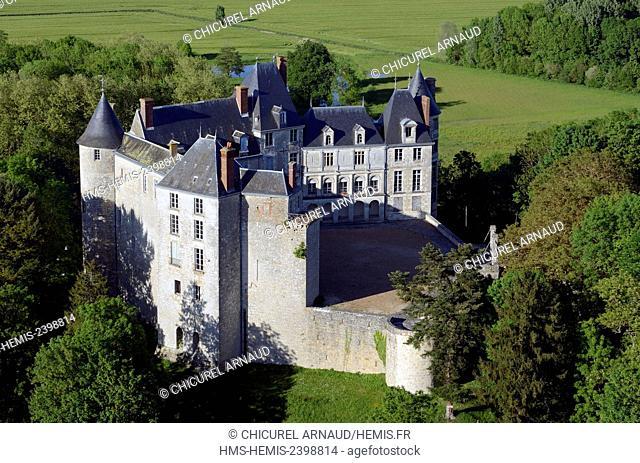 France, Loiret, Saint Brisson sur Loire, the castle (aerial view)