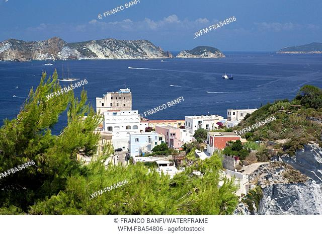 Panorama View of Harbour Entry, Ponza Ilsland, Mediterranean Sea, Italy