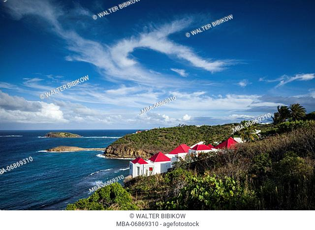 French West Indies, St-Barthelemy, Marigot, elevated view of Anse de Marigot bay