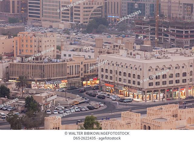 Qatar, Doha, elevated view of Doha market area, dusk