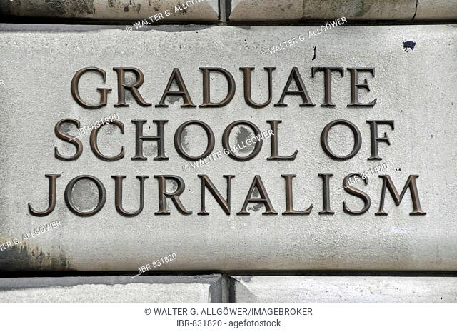 Sign for the Graduate School of Journalism, Columbia University, Manhattan, New York City, USA