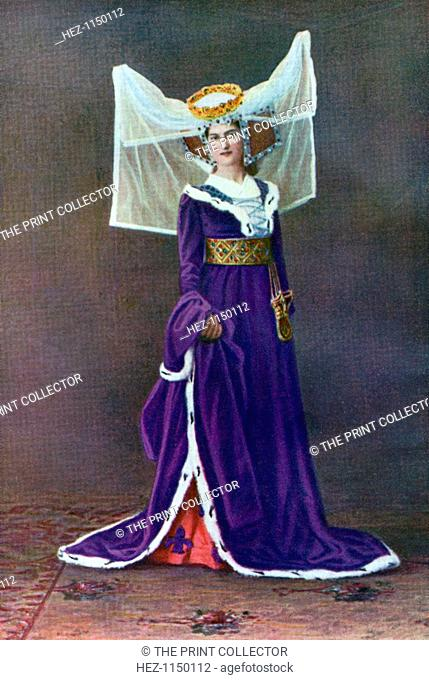 Female dress from the time of Henry VI, 1421-1471, (1910). Woman wearing a horned headdress with coronet and large cauls