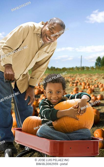 African grandfather pushing grandson with pumpkin in wagon