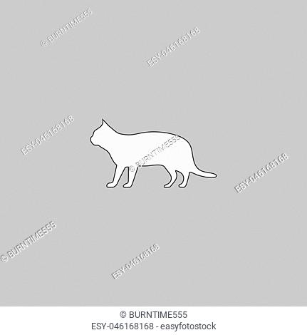 pussycat Simple line vector button. Thin line illustration icon. White outline symbol on grey background