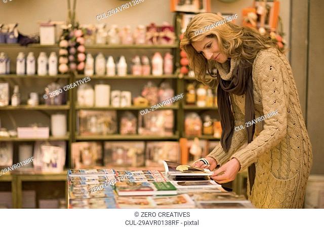Woman browsing in books