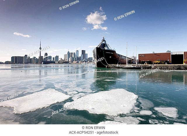 The City of Toronto and ships in harbour as seen from the portlands in winter, Toronto, Ontario, Canada