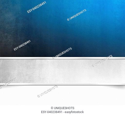 Abstract light blue background texture with silver grey banner - grunge style
