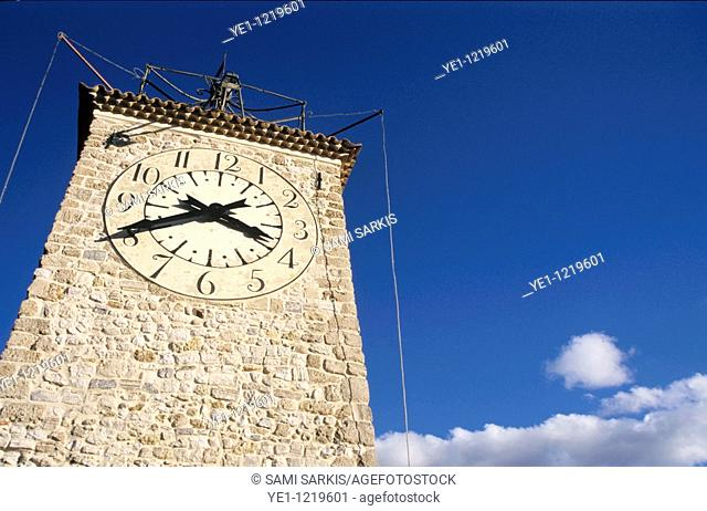Old clock tower in Roquevaire, Provence, France