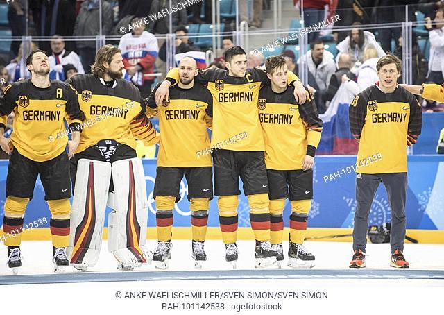 left to right Patrick HAGER (GER), goalwart Timo PIELMEIER (GER), Felix SCHUETZ (SCHUTZ) (GER), Marcel GOC (GER), Dominik KAHUN (GER)