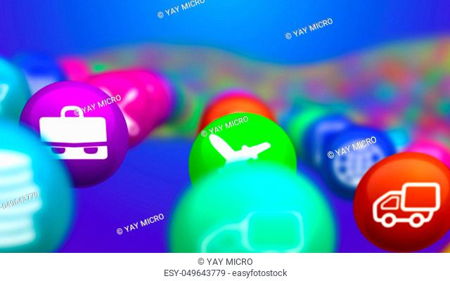 An original 3d rendering of unclear colorful social mass media balls flying in the blue background. They illustrate different social services, including music