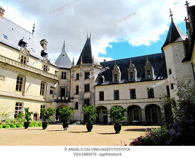 The backyard of 15th century castle Château de Chaumont, France.