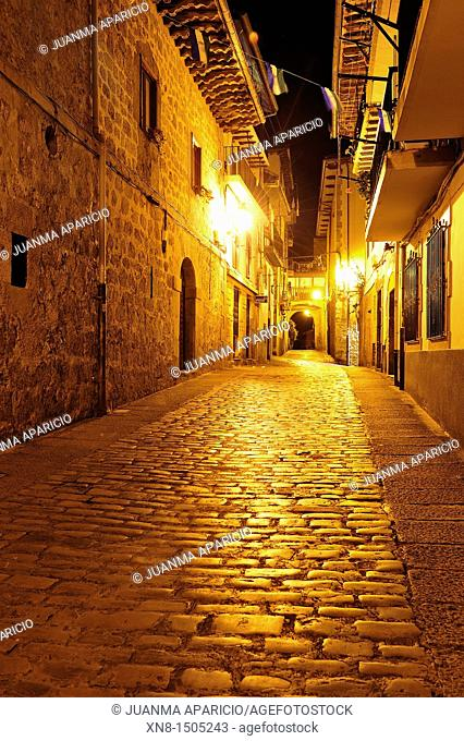 Old town of Laredo without people shooting at night, Cantabria, Spain