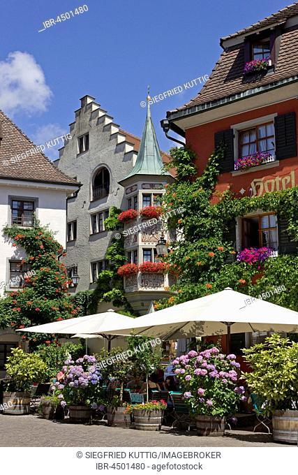 Marketplace, Oberstadt, Meersburg, Lake Constance, Baden-Württemberg, Germany