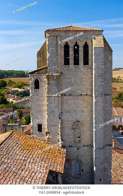 France, Gers (32), village of La Romieu on the way of Saint Jacques de Compostelle, collegiate Saint-Pierre, south-west bell-tower