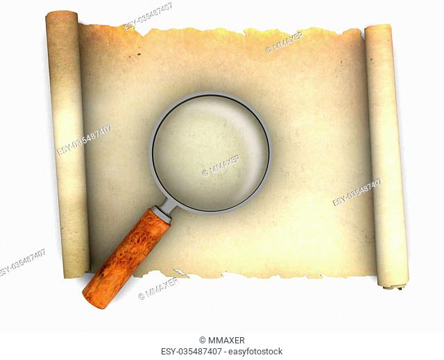 3d illustration of old paper scroll and magnify glass
