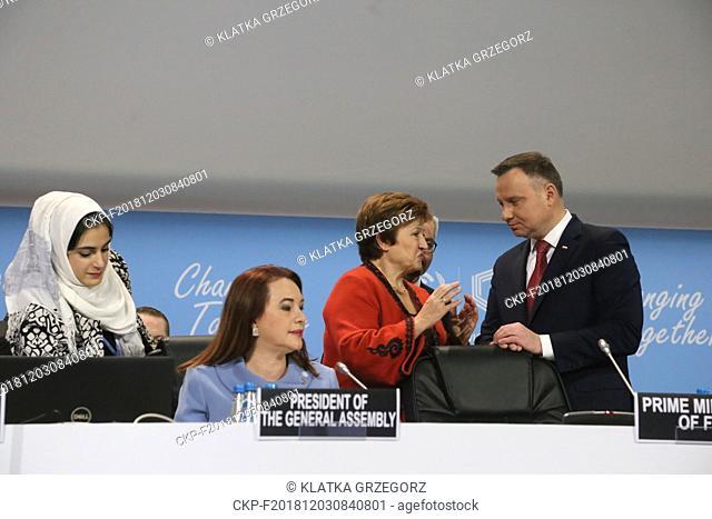 Andrzej Duda (right), President of Poland, Kristalina Georgieva (center), Chief Executive Officer of the World Bank and Maria Fernanda Espinosa Garces (left