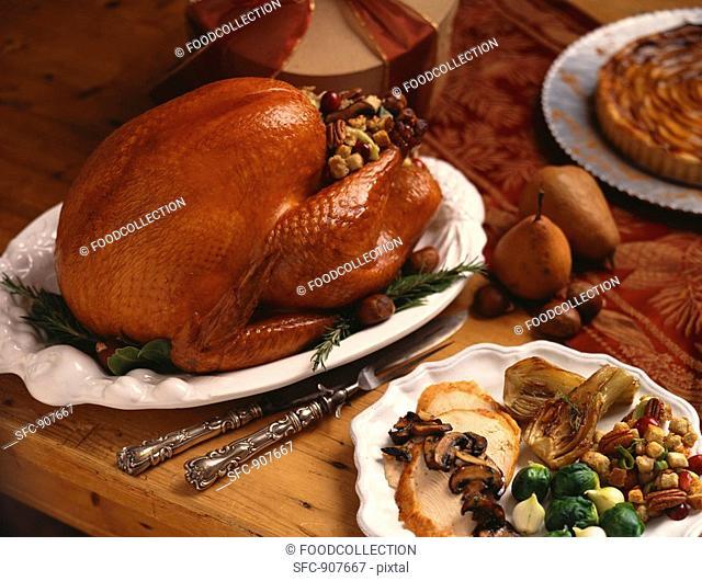 Stuffed Roast Turkey, Sliced Turkey Dinner Plate