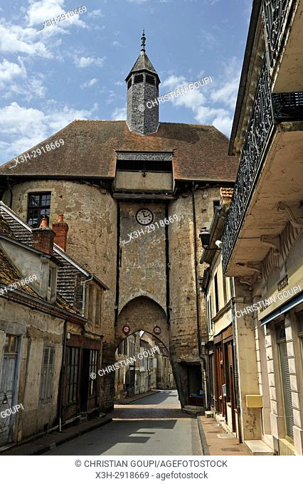 Porte de l'horloge (clock's gate), Ainay-le-Chateau, Allier department, Auvergne-Rhone-Alpes region, France, Europe