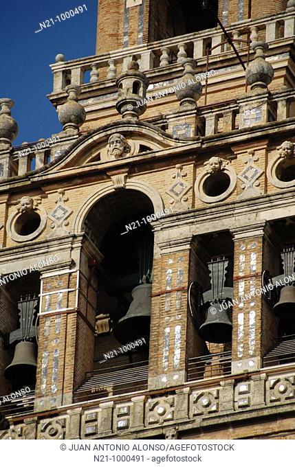 Detail of the La Giralda Tower belfry. Seville Cathedral. Santa Cruz Quarter, Seville, Andalucia, Spain