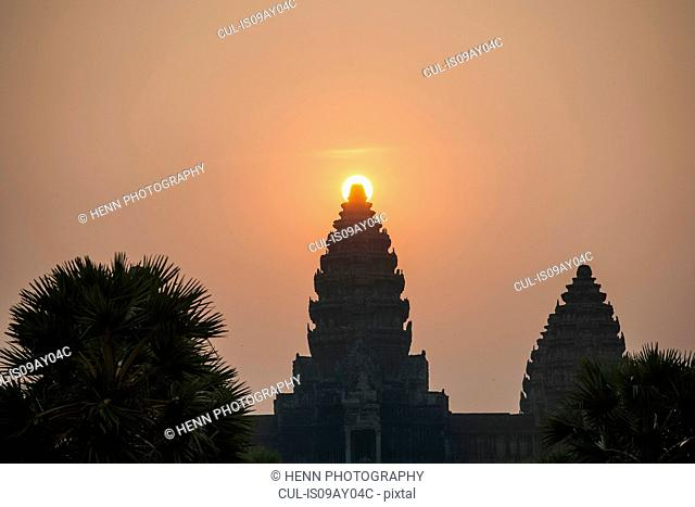 Silhouette of Angkor Wat temple at sunrise, Siam Reap, Cambodia