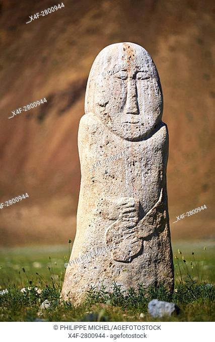 Mongolia, Bayan-Ulgii province, western Mongolia, National parc of Tavan Bogd, Altay mountains, balbal or human formed stele, VI - VIII century