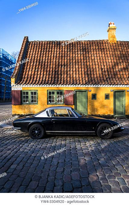Old house and vintage car, Copenhagen, Denmark