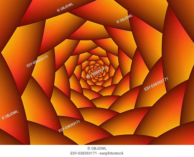 Digital abstract design depicting a spiral of spheres in shades of orange