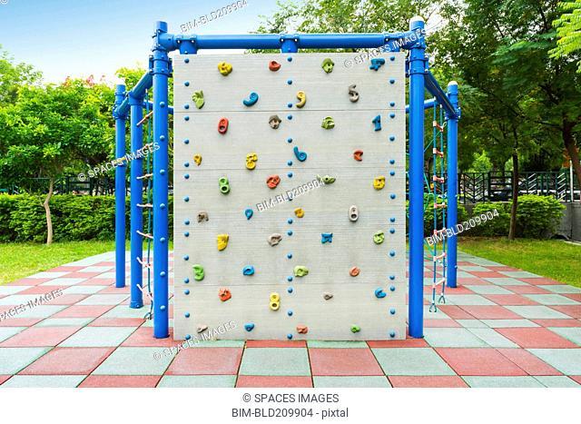 Climbing wall at playground