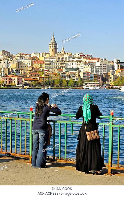 Beyoglu area viewed from EminÜnƒ docks, Istanbul, Turkey