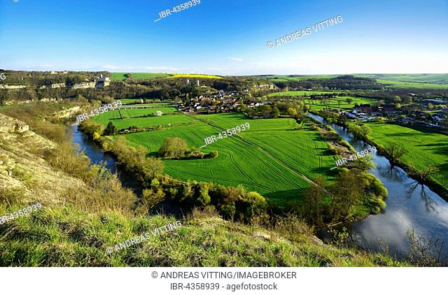 Saaletal with village Saaleck,near Bad Kosen, Saxony-Anhalt, Germany