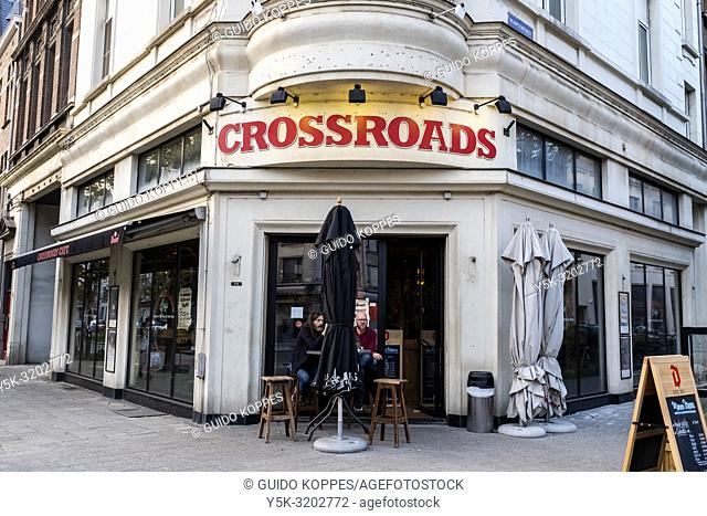Antwerp, Belgium. Crossroads cafe at one corner of Paardemarkt. It's a traditional cafe, with lot's of Belgian beer, good, fresh food, good music and good