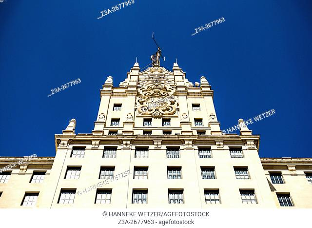 Architecture at the Gran Via in Madrid, Spain, Europe
