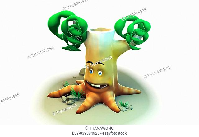 3D cartoon tree for eco system