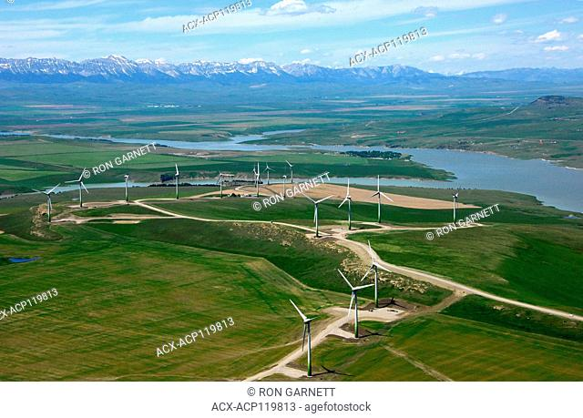 aerial, wind turbines, Pincher Creek, Alberta