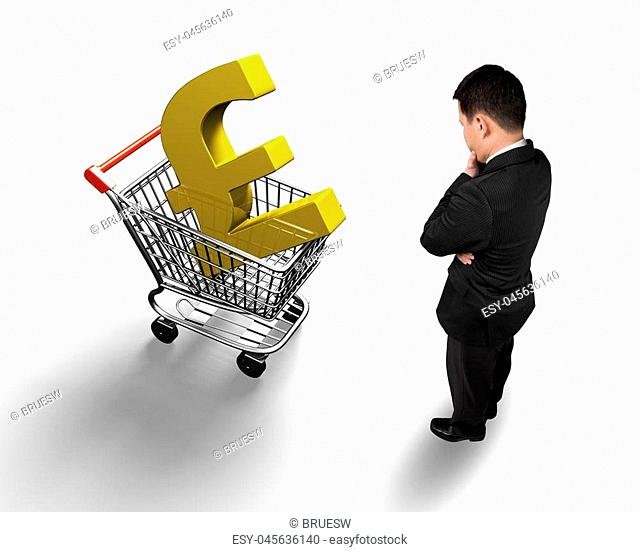 Standing man looking at shopping cart with golden pound sterling symbol, high angle view, isolated on white