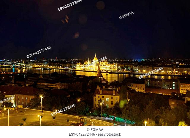 Night view from the top to the parliament building and the Danube. Budapest. Hungary