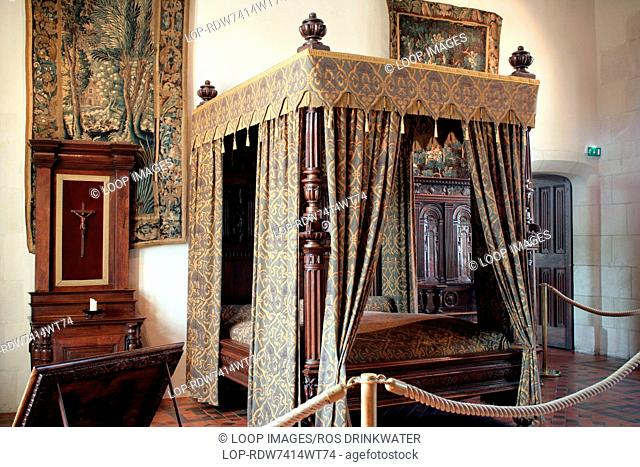 Bedroom in Chateau d'Amboise in the Loire Valley at Touraine