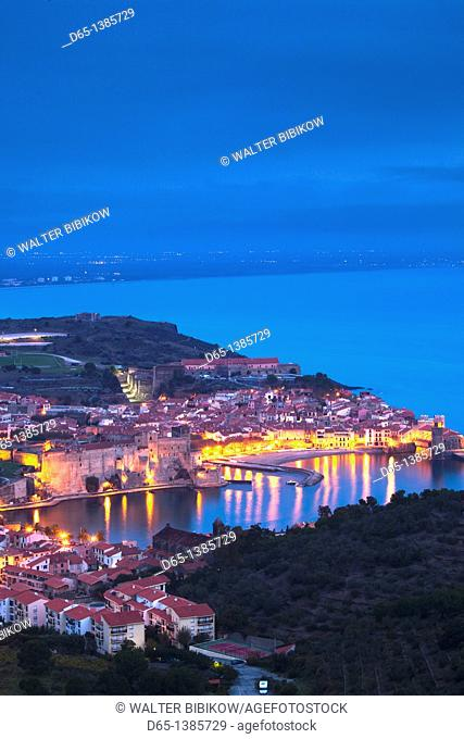 France, Languedoc-Roussillon, Pyrennes-Orientales Department, Vermillion Coast Area, Collioure, town overview, dawn