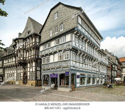 Historic half-timbered houses along the market street, UNESCO World Heritage Site, Goslar, Lower Saxony, Germany