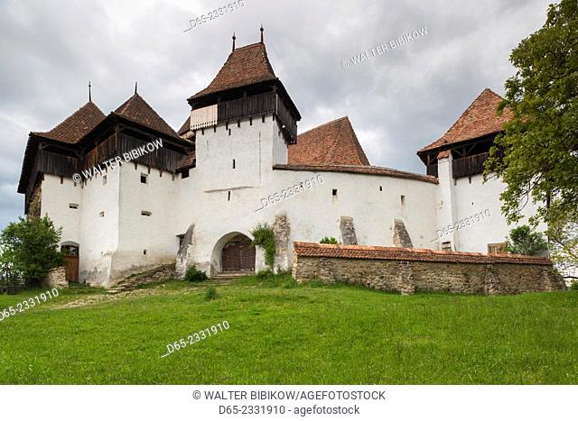 Romania, Transylvania, Viscri, traditional Romanian village, supported by Prince Charles of England, fortified Saxon church built in 1185